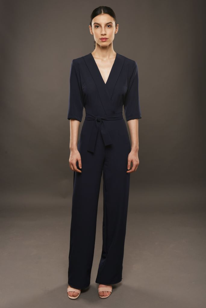Navy Jumpsuit With Plunging Neckline - S / Navy - Jumpsuits & Co Ordinates