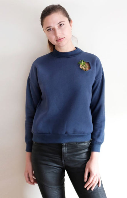 Navy Mock Neck Pullover With Cut Out Pocket - Tops & Shirts