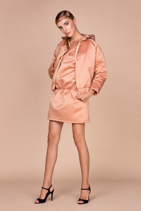 Oversized Beige Bomber Jacket - S / Nude - Jackets & Vests