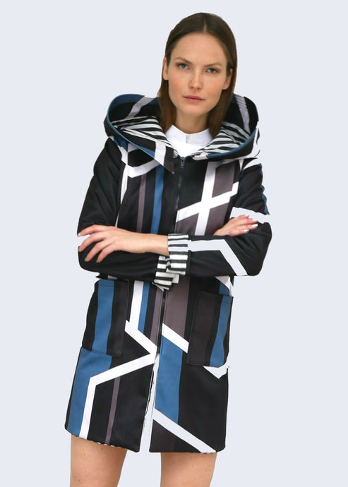 Long Geometric Print Jacket