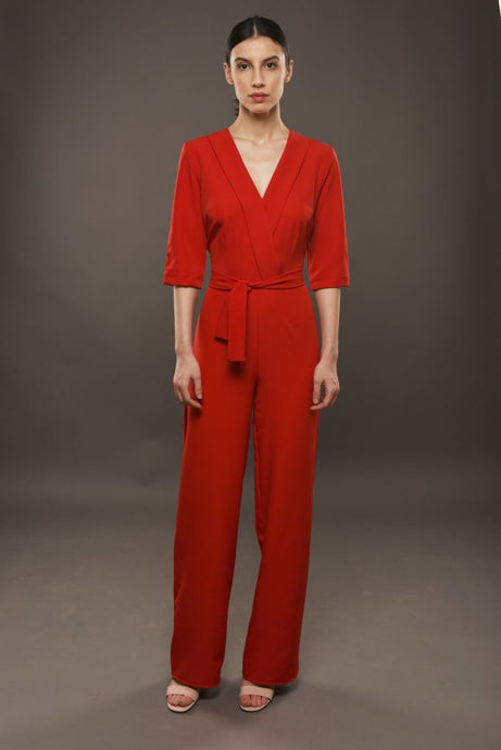 Red Jumpsuit With Plunging Neckline - S / Red - Jumpsuits & Co Ordinates
