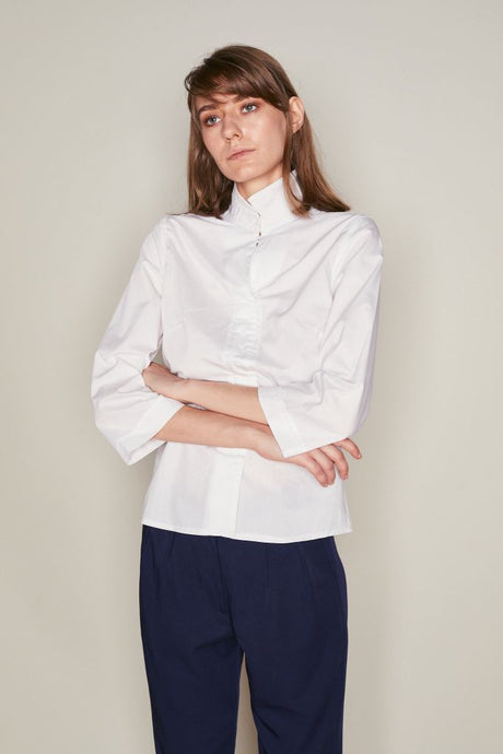 White Asymmetric Collar Shirt - S / White - Tops & Shirts