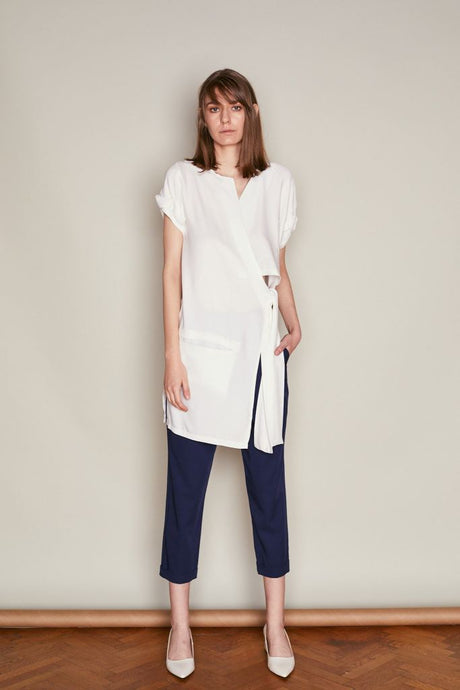 White Asymmetric Wrap Top - S / White - Tops & Shirts