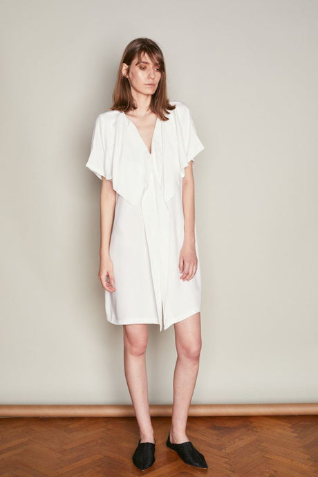 White Double Breast Dress - S / White - Dresses