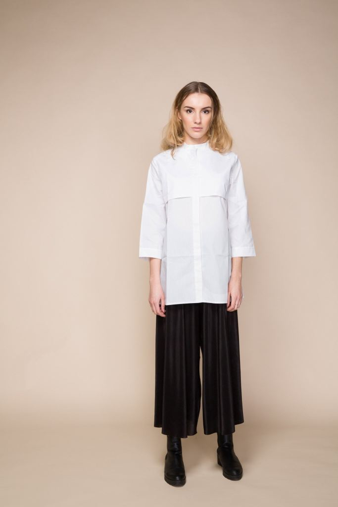 White Long Shirt With Grandad Collar - S / White - Tops & Shirts