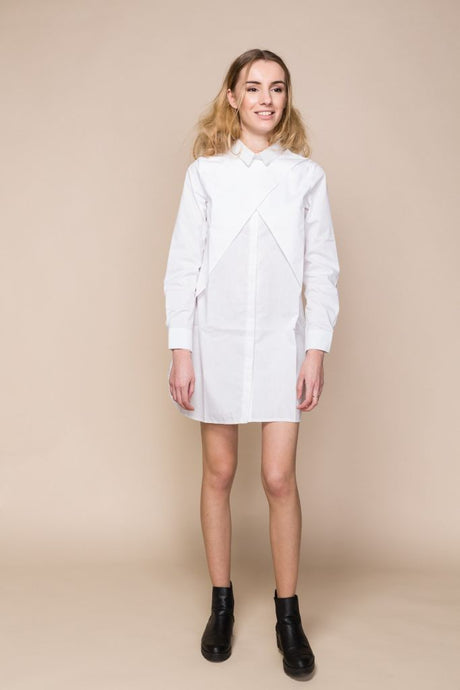 White Poplin Wrap Shirt Dress - S / White - Tops & Shirts