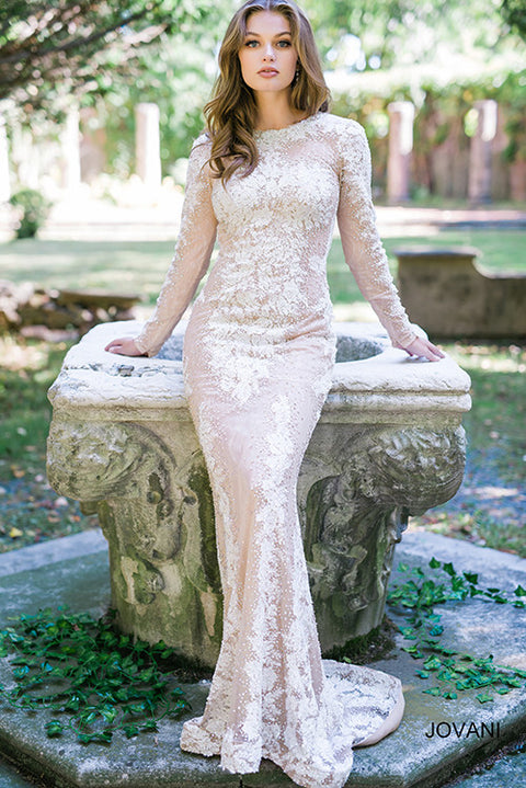 White and Nude Fitted Embellished Gown