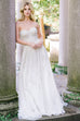 Off White Strapless A-Line Embellished Gown
