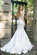 Off White Plunging Neckline Mermaid Satin Bridal Gown