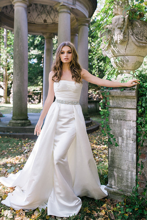 Off White Strapless Embellished Belt A-Line Satin Bridal Gown – It\'s ...