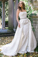 Off White Strapless Embellished Belt A-Line Satin Bridal Gown