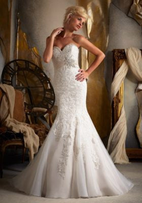 Net Satin Empire Wedding Dress