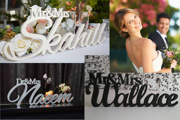 wedding table decorations - personalized wedding signs