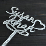 CUSTOM WEDDING CAKE TOPPER PERSONALIZED WITH YOUR NAMES & HEART - The Suggestion Store