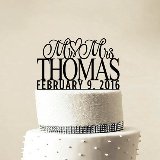 Cute Wedding Cake Topper MR MRS Last name and date - The Suggestion Store