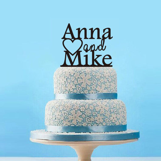 PERSONALIZED WEDDING CAKE TOPPER WITH HEART DESIGN - The Suggestion Store