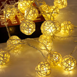 20 Rattan Ball Led String Fairy Lights Wedding Decor - The Suggestion Store