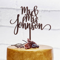 Cute Wedding Cake Topper MR MRS surname - The Suggestion Store