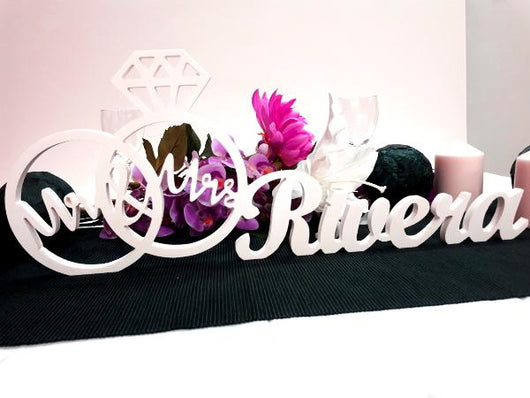 Wedding Centerpiece Decoration Custom MR & MRS Rings - The Suggestion Store