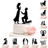 Cake Topper Wedding Acrylic Black - The Suggestion Store