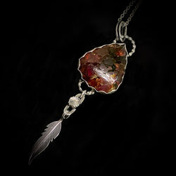 Shattered - Garnet Composite and Sterling Silver Feather Necklace