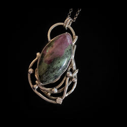 Naiya - Ruby in Zoisite and Sterling Silver Necklace