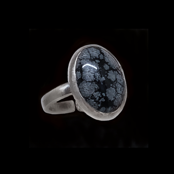 Yas - Handmade Snowflake Obsidian Sterling Silver Ring