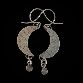 Handmade Sterling Silver and Moonstone Earrings