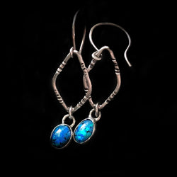 Synthetic Opal and Reclaimed Sterling Silver Earrings