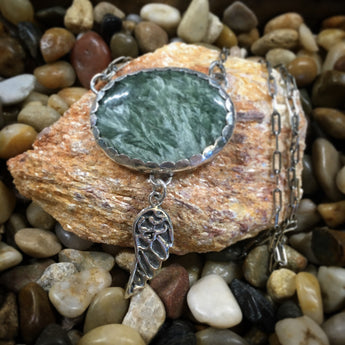 JESSICA PENDANT   This handmade necklace is made from a Seraphinite cabochon set in Argentium Sterling Silver.