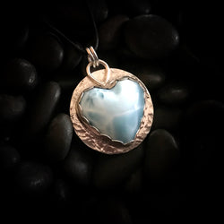 TOVI PENDANT   This handmade Larimar Heart pendant is set in Argentium Sterling Silver