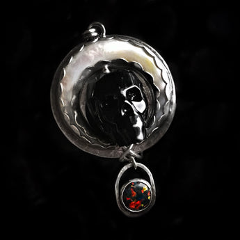 """Afterlife"" Moon & Skull Sterling Silver Necklace"