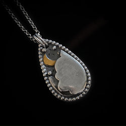 Moony - Handmade Sterling Silver Necklace with a Tiny Brass Moon
