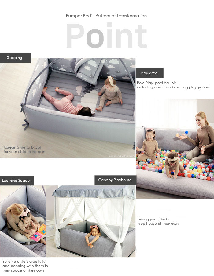 LOLBaby Convertible Microfiber Bumper Bed