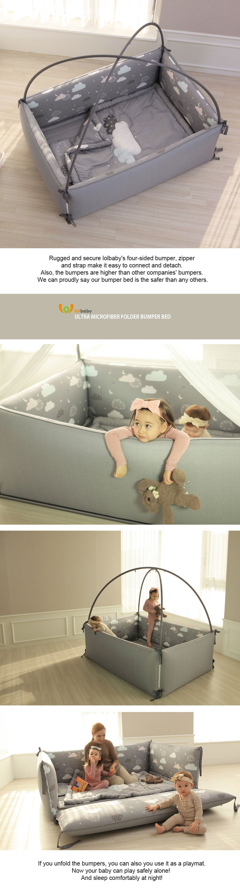 LOLBaby Night Sky Bumper Bed Cot