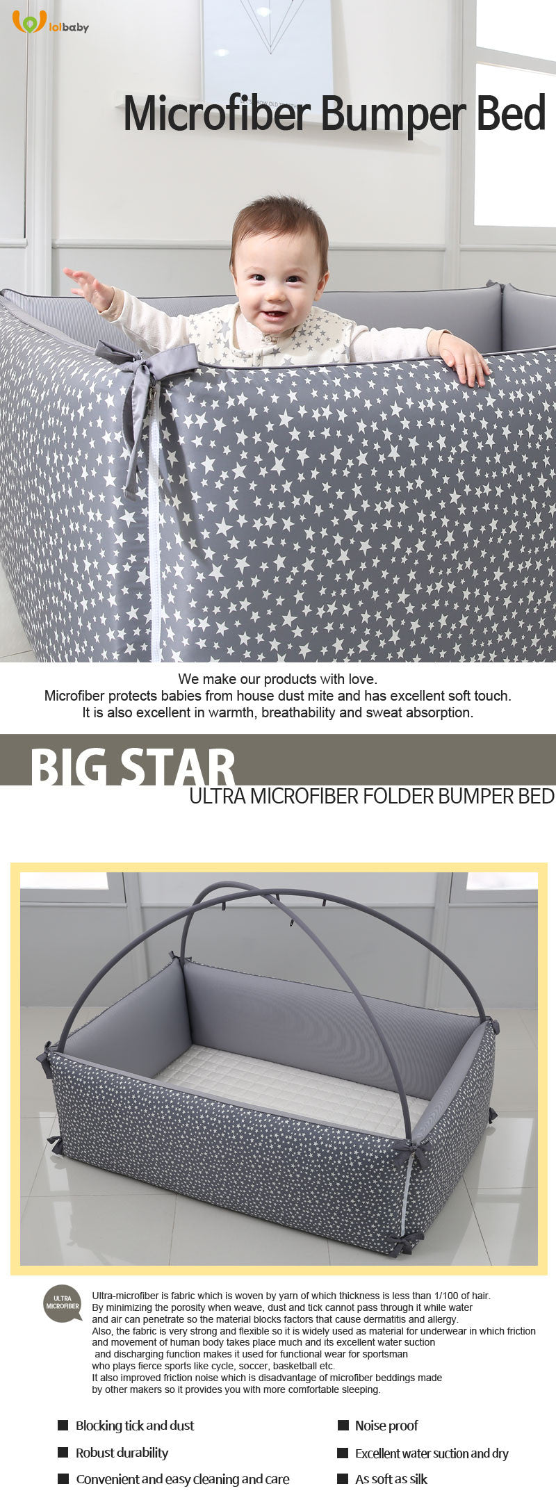 LOLBaby Convertible Bumper Bed Playmat Playpen Big Star