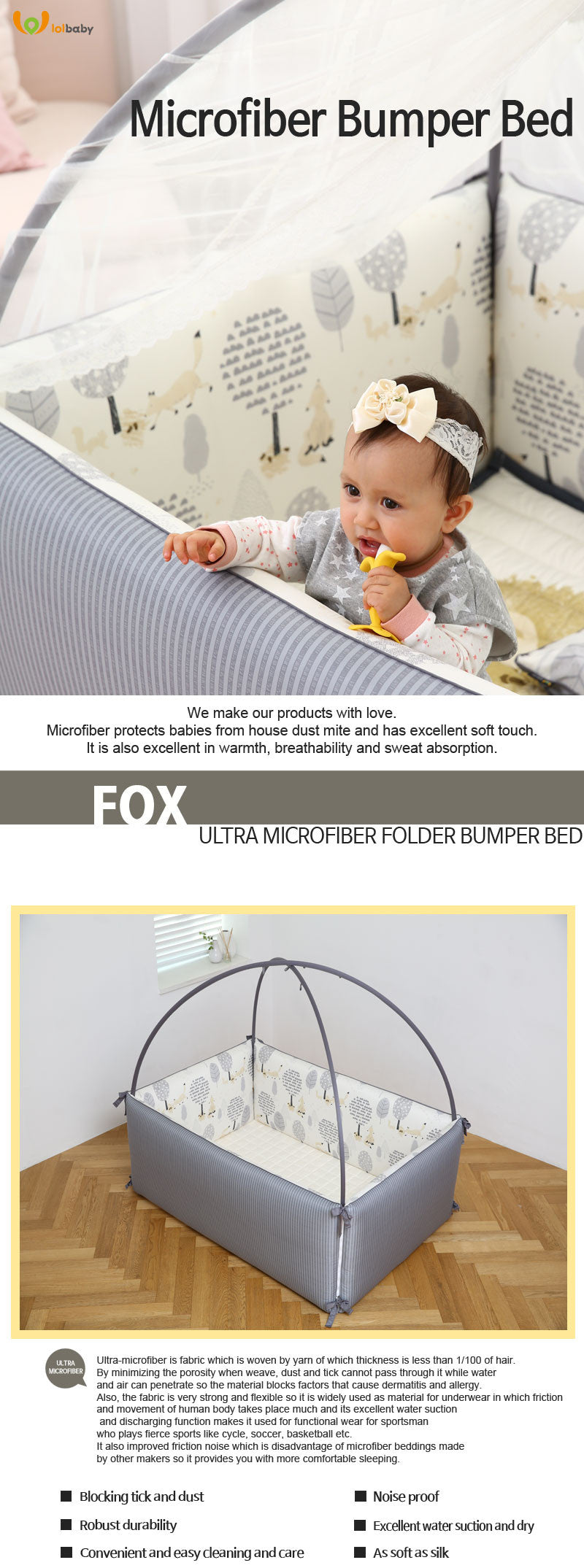 LOLBaby Convertible Bumper Bed Playmat Playpen Fox