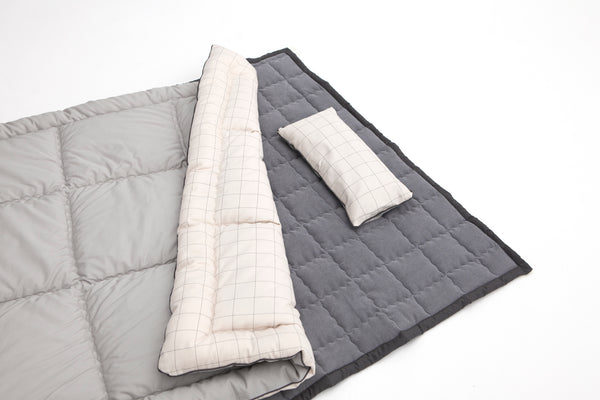 100% Premium Cotton Bedding Set - Check Grey