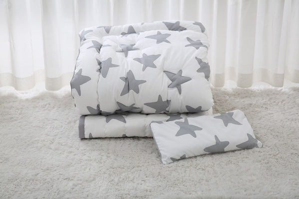 LOLBaby Bedding Set - 100% Premium Cotton Bedding Set - Star Grey