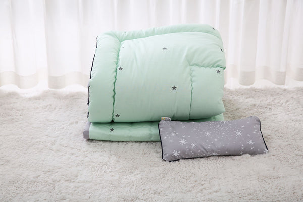 100% Premium Cotton Bedding Set - Simple Star Mint
