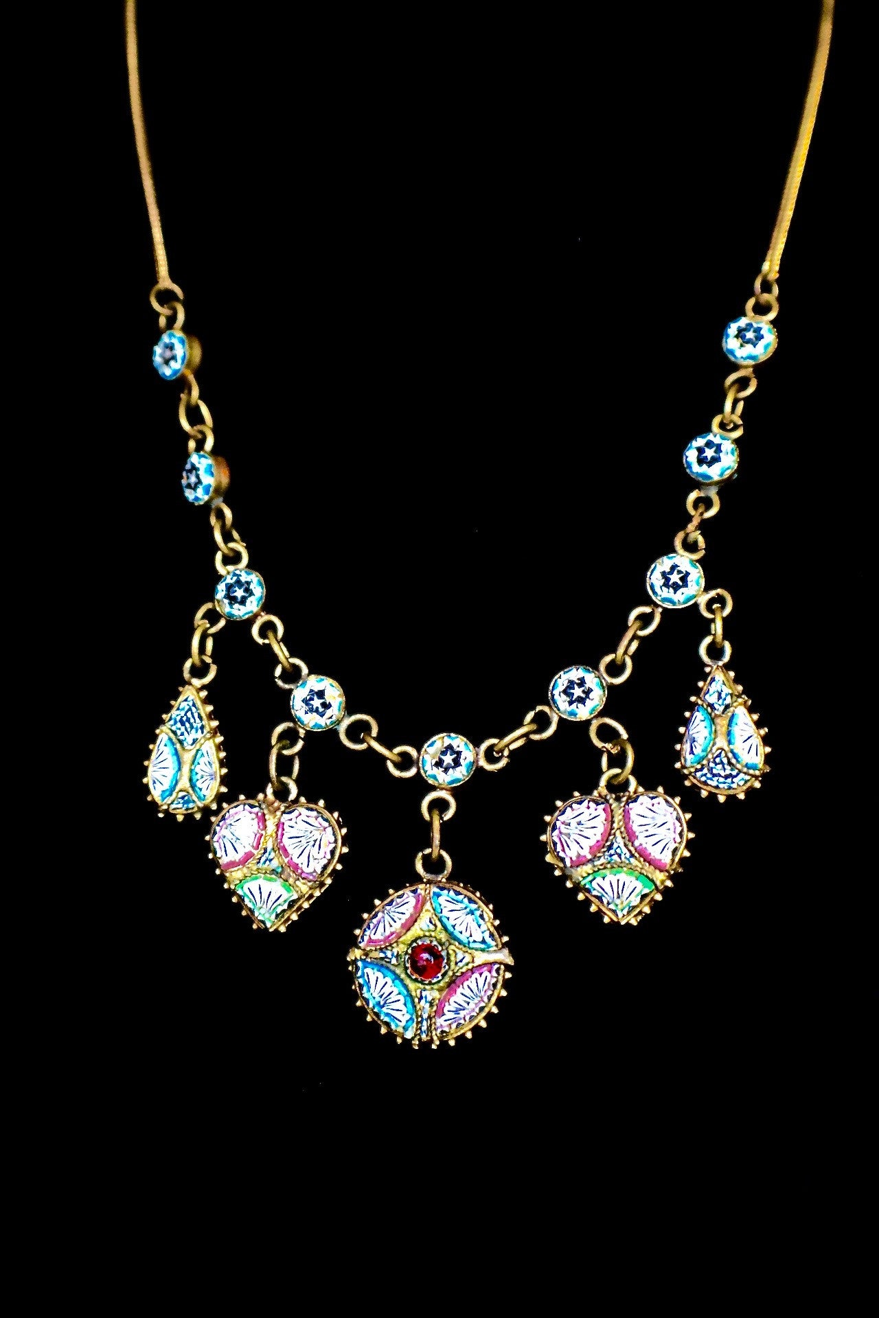jewel sdetail inc gold vintage signed crystal necklace jeweled pendant rainbow jewelry art
