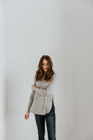 Sawyer Side Slit Top in Gray