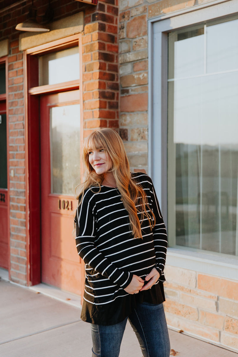 Maternity Striped Top in Black