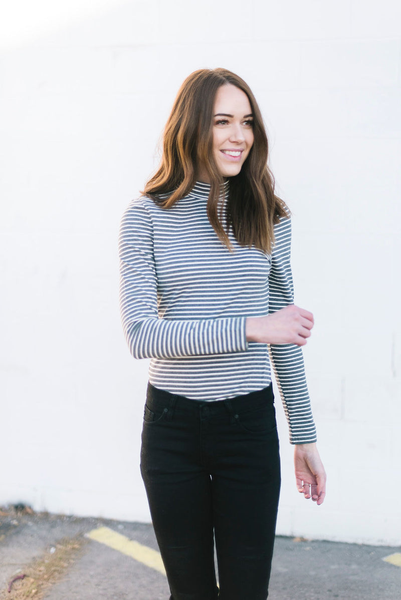 Liza Striped Bodysuit in Gray