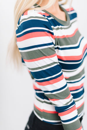 Candy Cane Striped Top in Olive/Coral