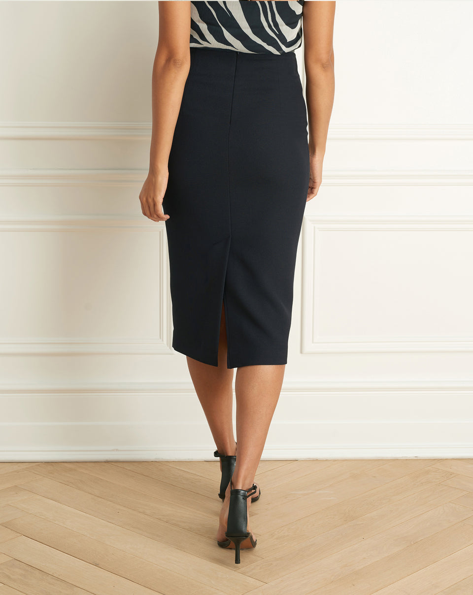 Basket Weave Pencil Skirt With Leather Waist