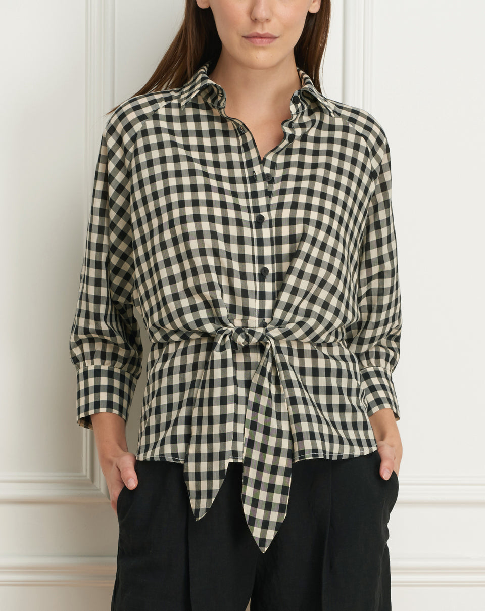 Tyed front shirt with dolman sleeve
