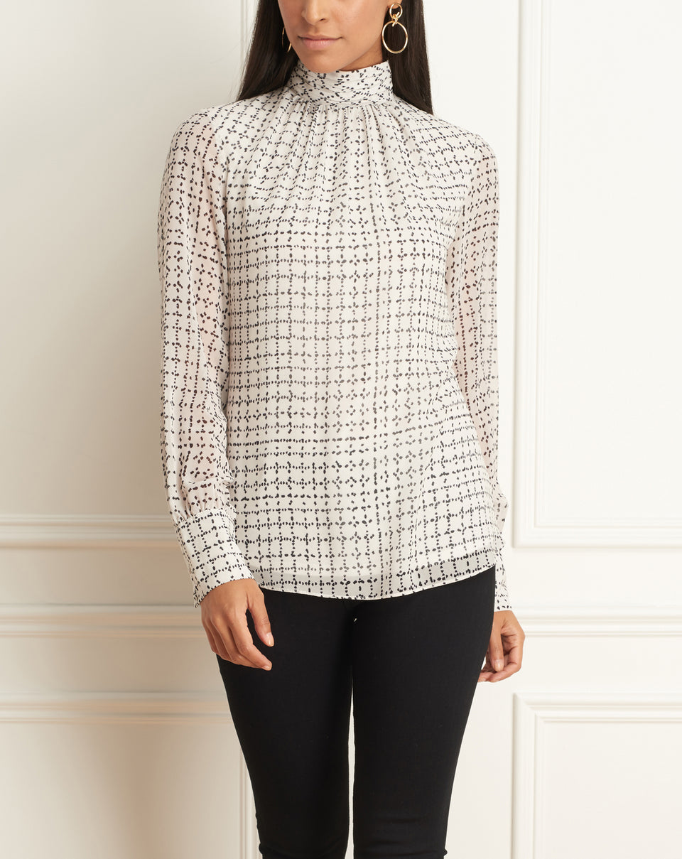 Long Sleeve Top With High Gathered Neck