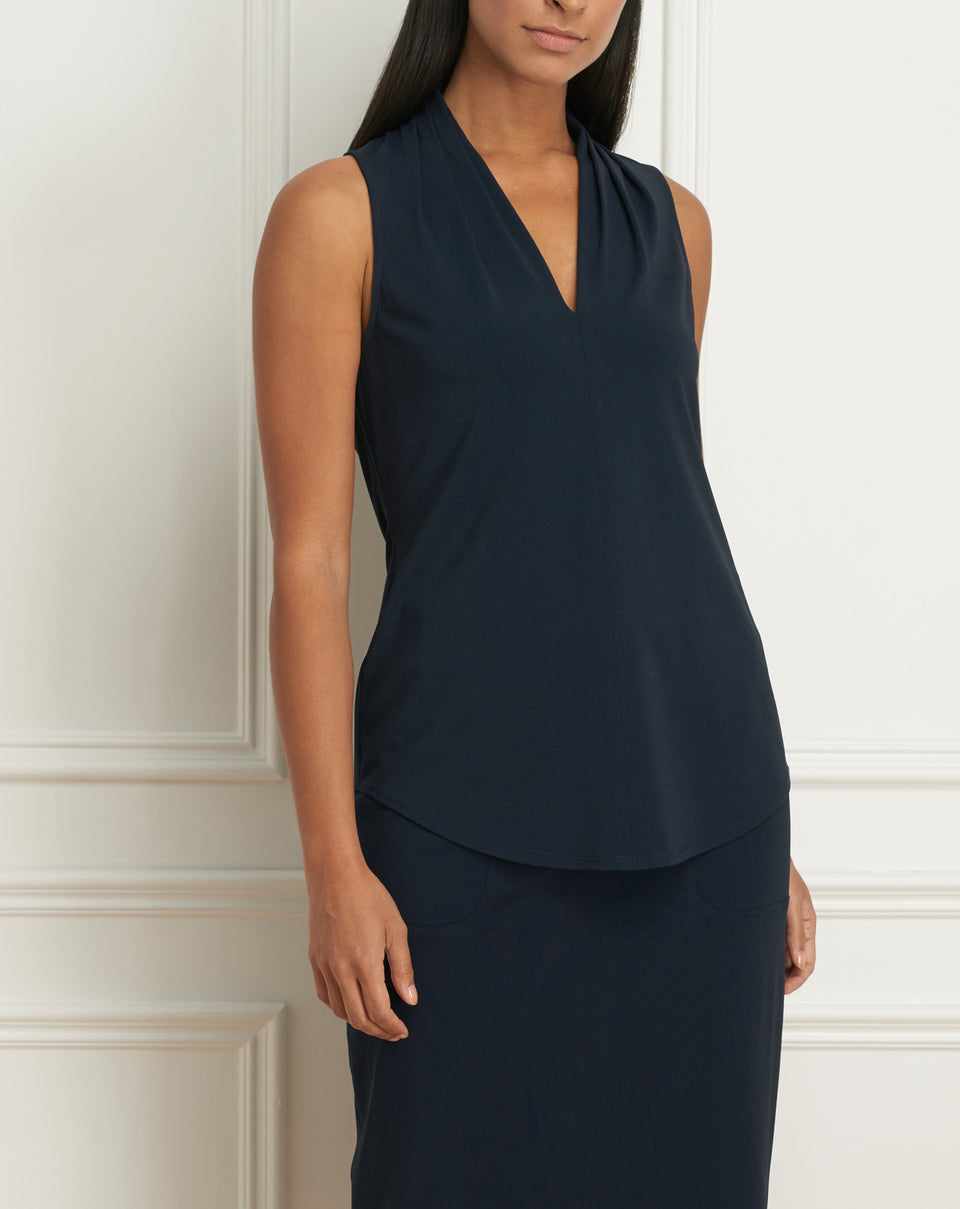 Matte jersey sleeveless pleated v-neck top