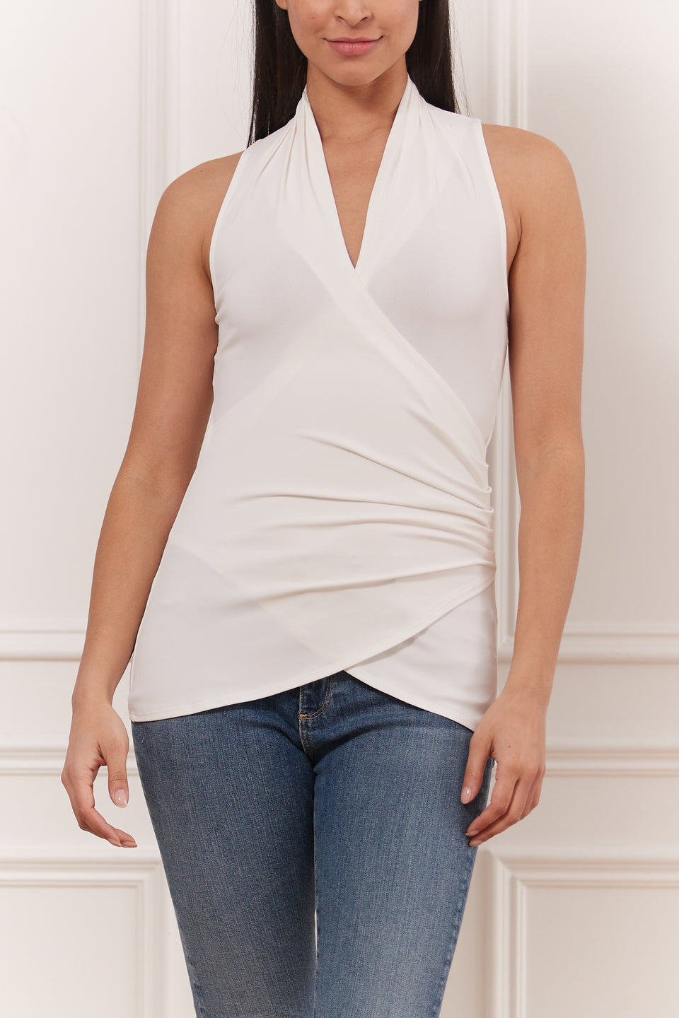 Matte Jersey Sleeveless Pleated Top